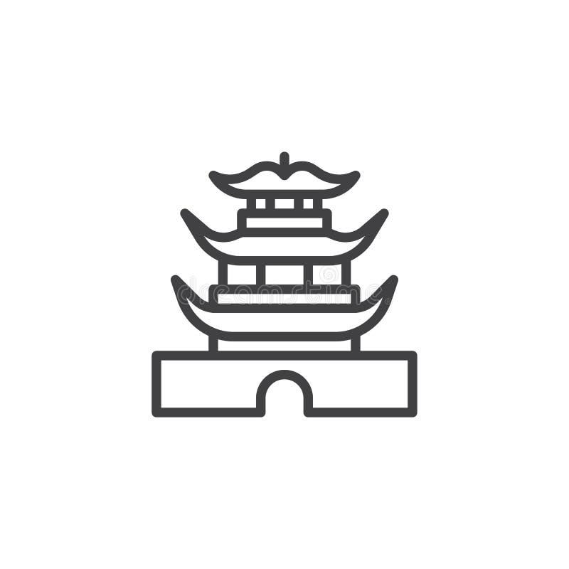 Alignement chinois de pagoda icône illustration de vecteur