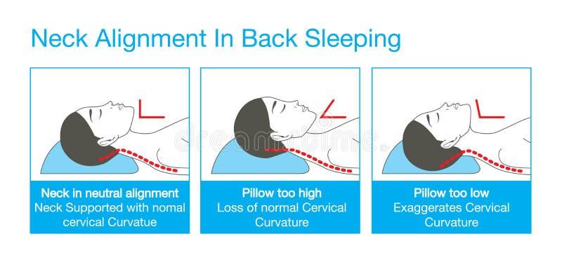 Alignement de cou dans le sommeil arrière illustration stock