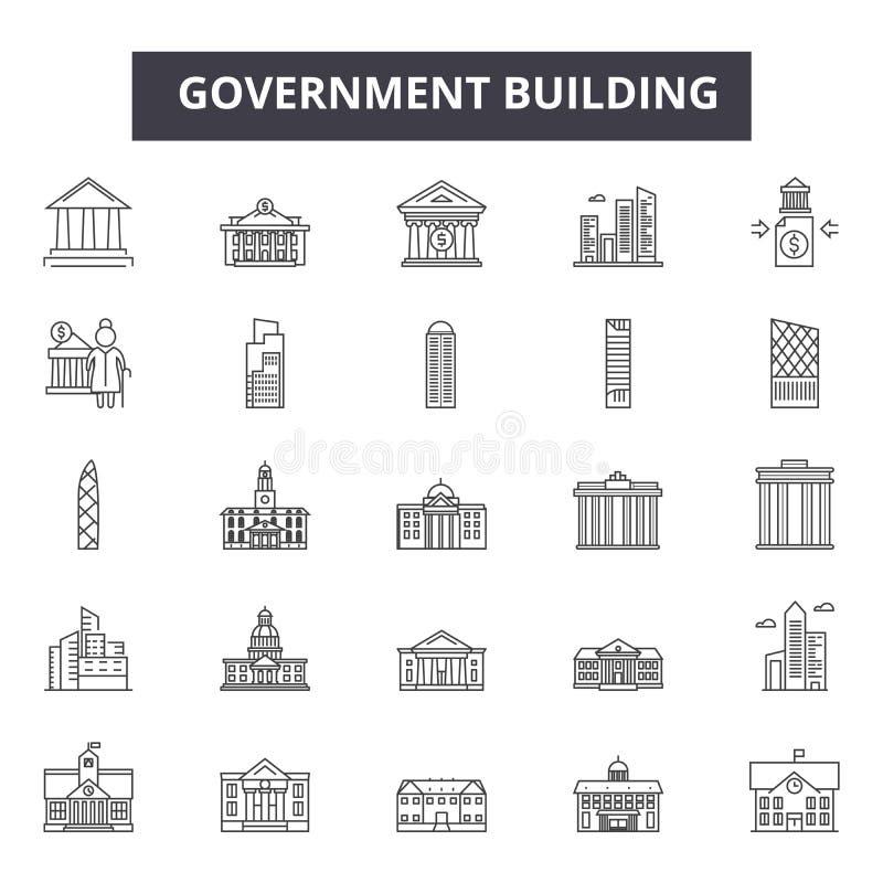 Alignement de gouvernement icônes pour le Web et la conception mobile Signes Editable de course Concept d'ensemble de bâtiment de illustration de vecteur