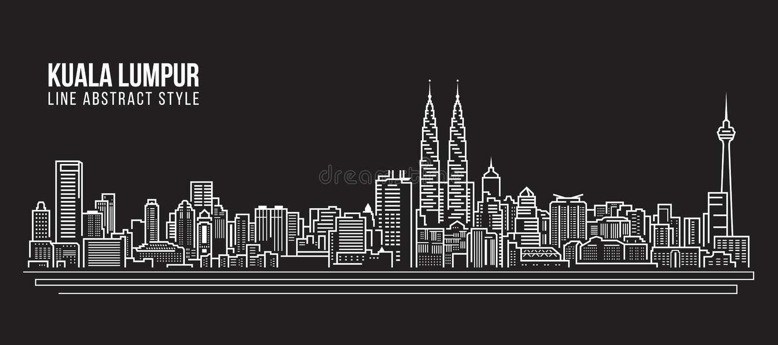 Alignement de paysage urbain conception d'illustration de vecteur d'art - horizon de Kuala Lumpur illustration libre de droits