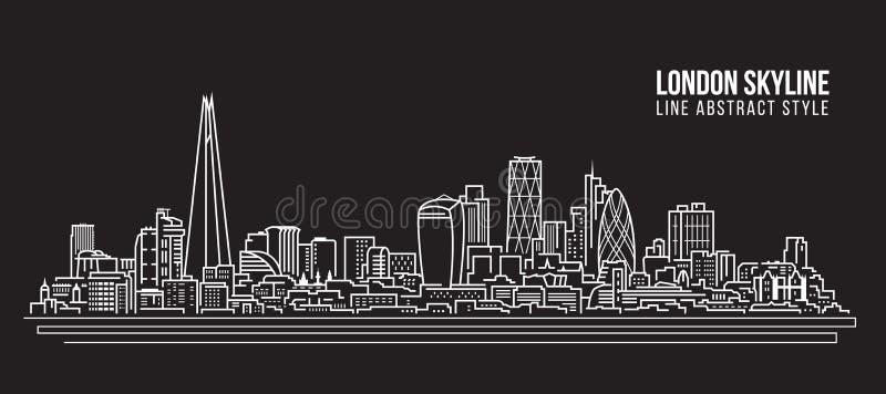 Alignement de paysage urbain conception d'illustration de vecteur d'art - horizon de Londres illustration stock