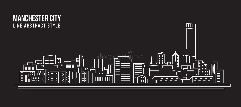 Alignement de paysage urbain conception d'illustration de vecteur d'art - Manchester City illustration libre de droits