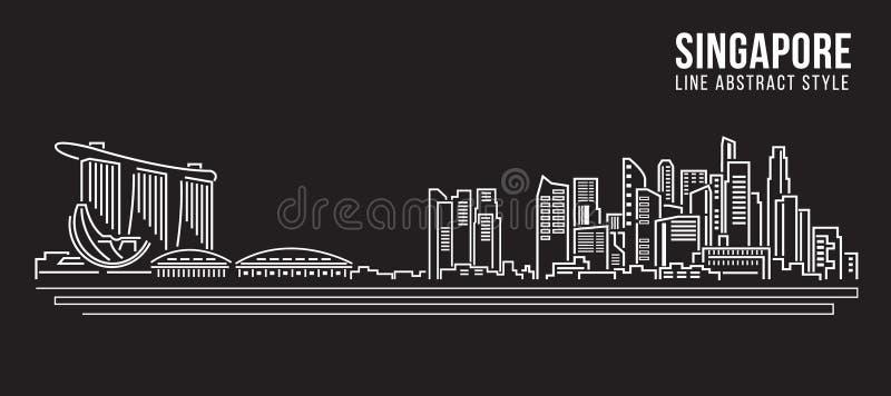 Alignement de paysage urbain conception d'illustration de vecteur d'art - Singapour illustration de vecteur