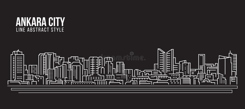 Alignement de paysage urbain conception d'illustration de vecteur d'art - ville d'Ankara illustration stock