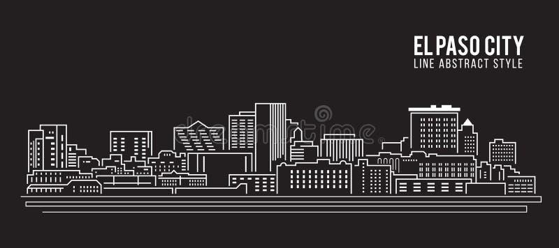 Alignement de paysage urbain conception d'illustration de vecteur d'art - ville d'El Paso illustration libre de droits