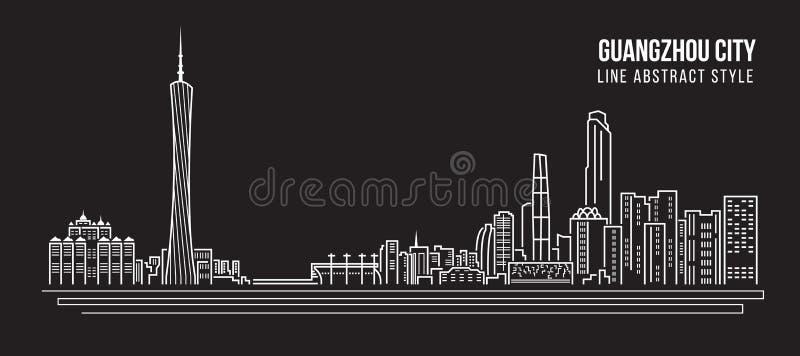 Alignement de paysage urbain conception d'illustration de vecteur d'art - ville de Guangzhou illustration libre de droits