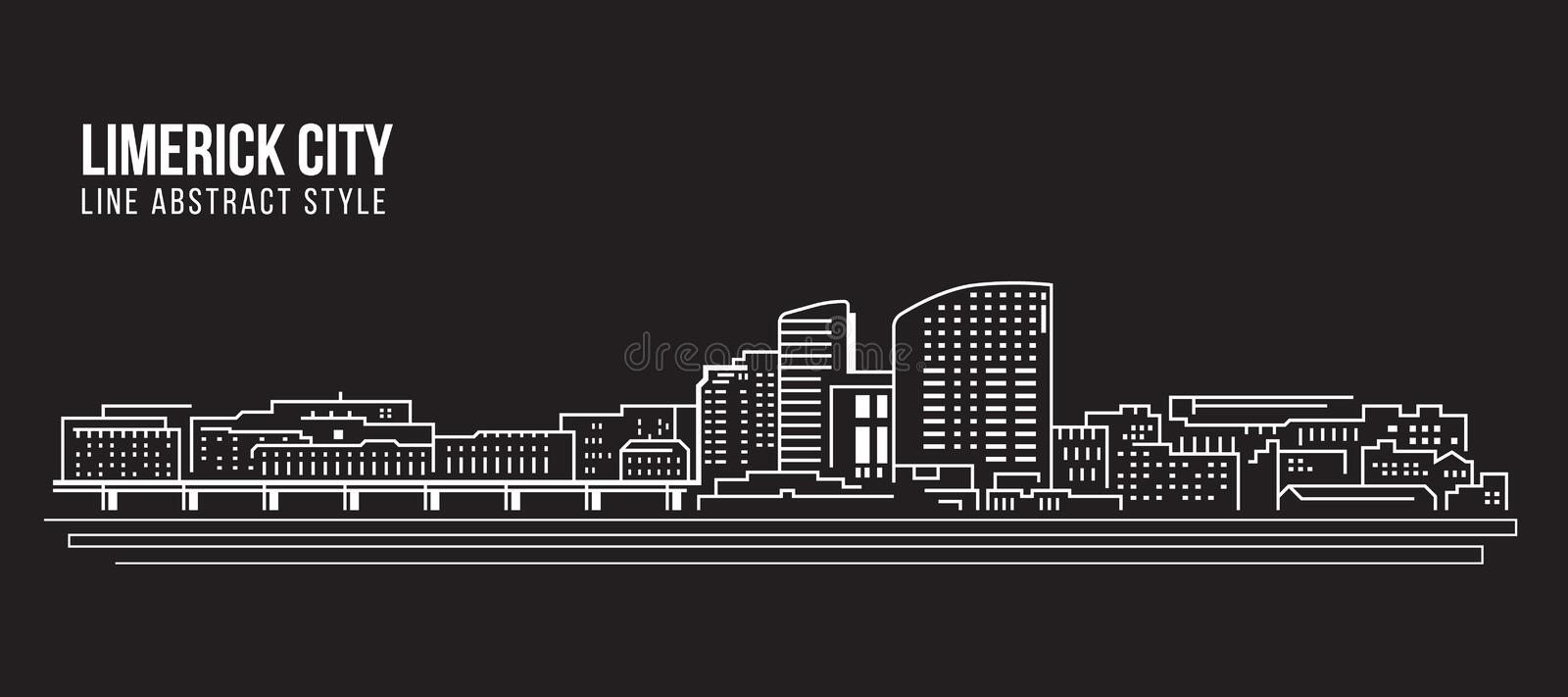 Alignement de paysage urbain conception d'illustration de vecteur d'art - ville de Limerick illustration stock