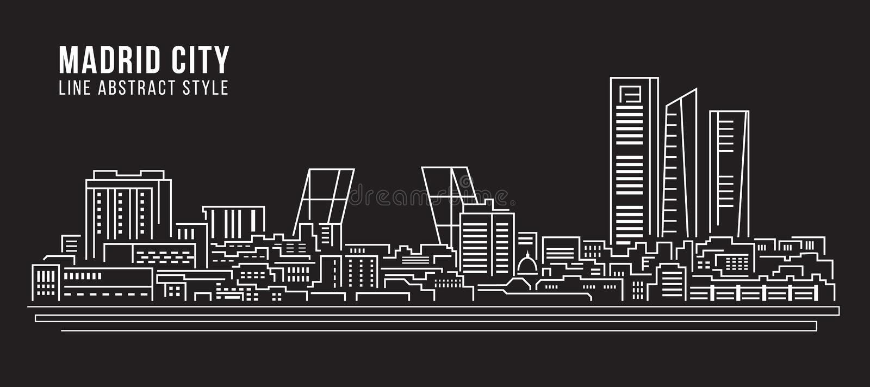Alignement de paysage urbain conception d'illustration de vecteur d'art - ville de Madrid illustration de vecteur
