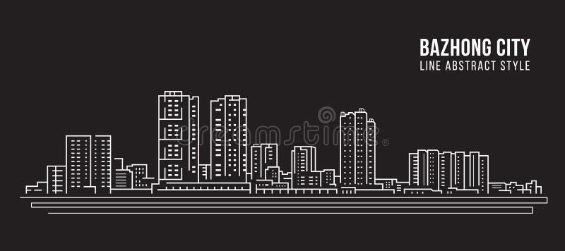 Alignement de paysage urbain conception d'illustration de vecteur d'art - ville de Bazhong illustration stock