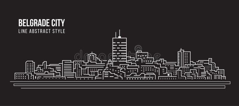 Alignement de paysage urbain conception d'illustration de vecteur d'art - ville de Belgrade illustration de vecteur