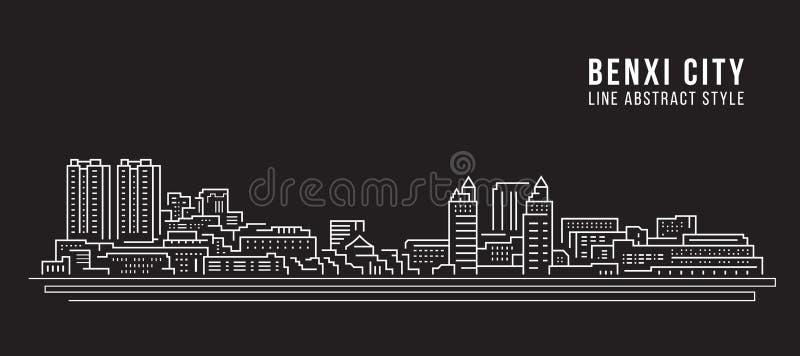 Alignement de paysage urbain conception d'illustration de vecteur d'art - ville de Benxi illustration stock