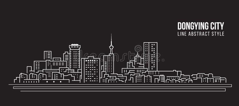 Alignement de paysage urbain conception d'illustration de vecteur d'art - ville de Dongying illustration stock