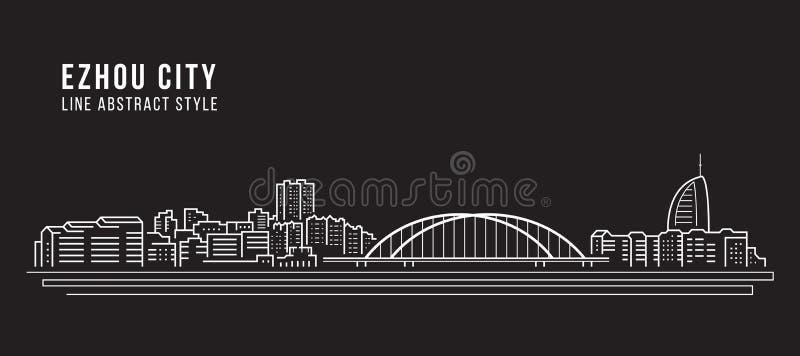 Alignement de paysage urbain conception d'illustration de vecteur d'art - ville d'Ezhou illustration stock