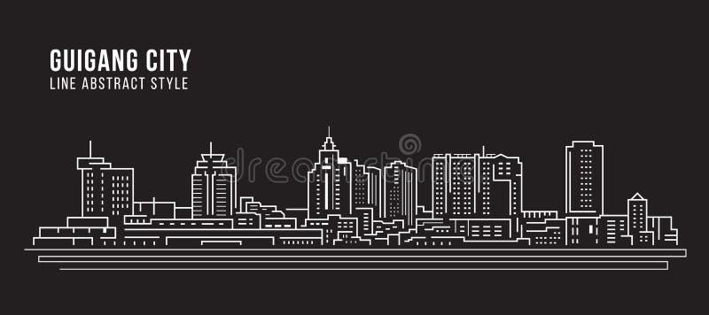 Alignement de paysage urbain conception d'illustration de vecteur d'art - ville de Guigang illustration libre de droits