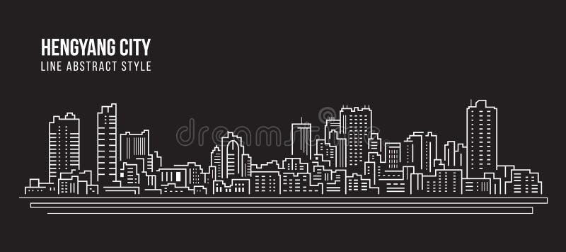 Alignement de paysage urbain conception d'illustration de vecteur d'art - ville de Hengyang illustration stock