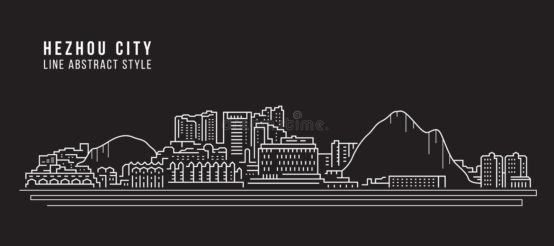 Alignement de paysage urbain conception d'illustration de vecteur d'art - ville de Hezhou illustration de vecteur
