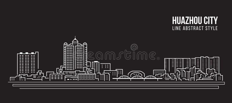 Alignement de paysage urbain conception d'illustration de vecteur d'art - ville de huazhou illustration stock