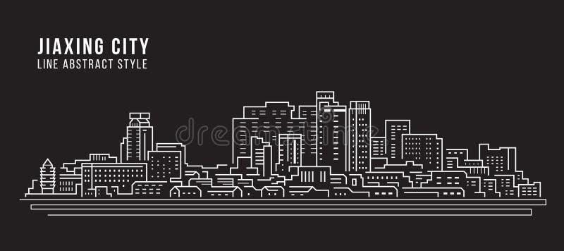 Alignement de paysage urbain conception d'illustration de vecteur d'art - ville de Jiaxing illustration de vecteur