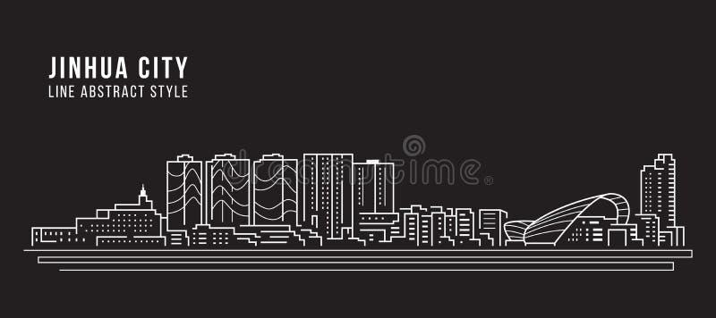 Alignement de paysage urbain conception d'illustration de vecteur d'art - ville de Jinhua illustration de vecteur