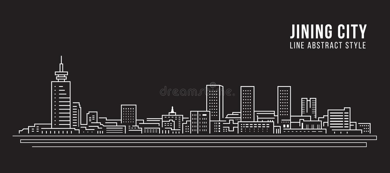 Alignement de paysage urbain conception d'illustration de vecteur d'art - ville de jining illustration de vecteur