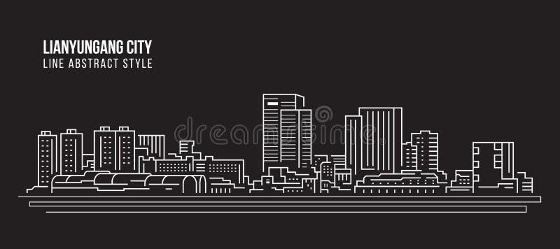 Alignement de paysage urbain conception d'illustration de vecteur d'art - ville de Lianyungang illustration stock