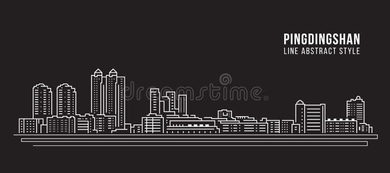 Alignement de paysage urbain conception d'illustration de vecteur d'art - ville de Pingdingshan illustration de vecteur