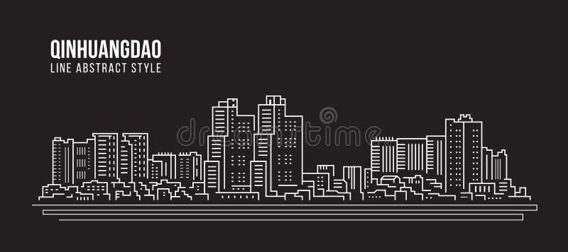Alignement de paysage urbain conception d'illustration de vecteur d'art - ville de Qinhuandao illustration de vecteur