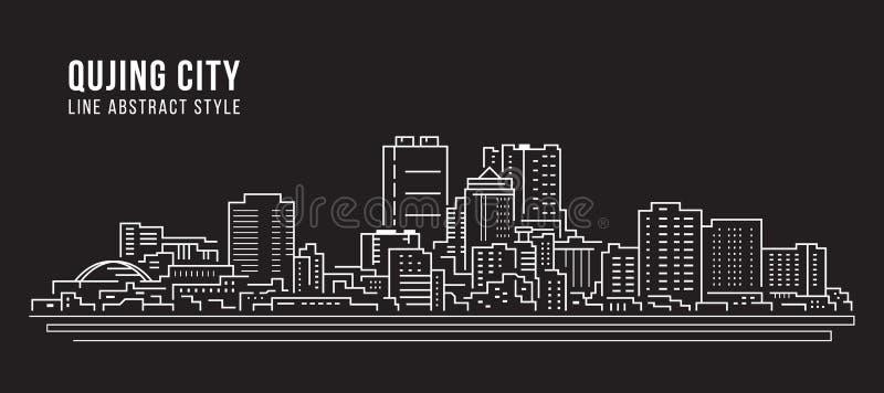 Alignement de paysage urbain conception d'illustration de vecteur d'art - ville de Qujing illustration de vecteur