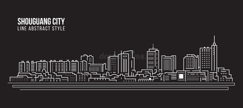 Alignement de paysage urbain conception d'illustration de vecteur d'art - ville de Shouguang illustration de vecteur