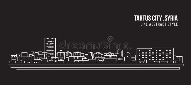 Alignement de paysage urbain conception d'illustration de vecteur d'art - ville de Tartus, Syrie illustration de vecteur