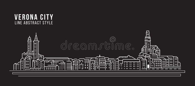 Alignement de paysage urbain conception d'illustration de vecteur d'art - ville de Vérone illustration libre de droits