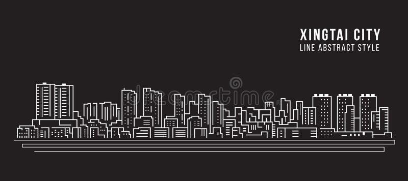 Alignement de paysage urbain conception d'illustration de vecteur d'art - ville de Xingtai illustration stock