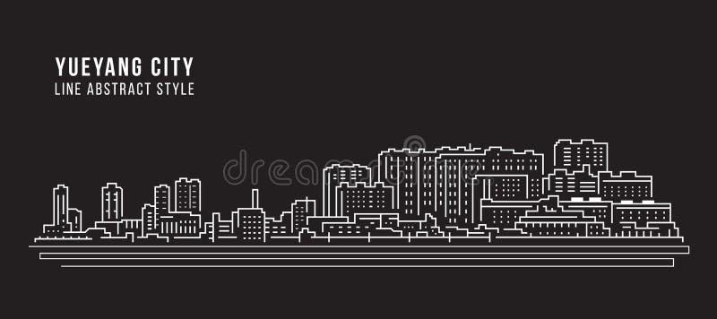 Alignement de paysage urbain conception d'illustration de vecteur d'art - ville de Yueyang illustration de vecteur
