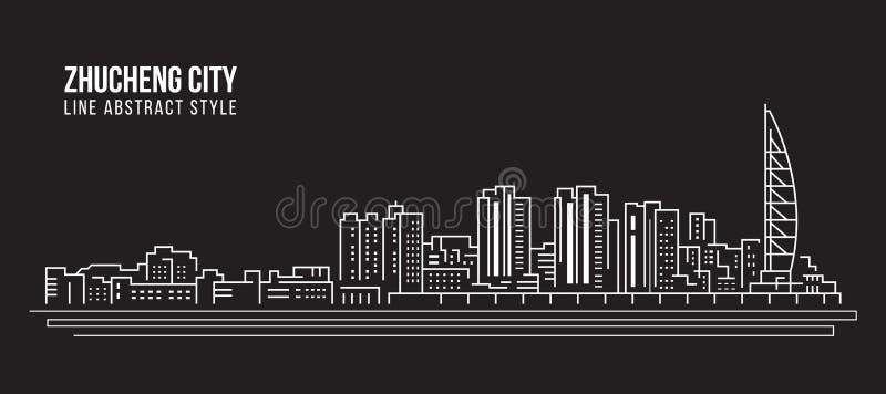 Alignement de paysage urbain conception d'illustration de vecteur d'art - ville de Zhucheng illustration libre de droits