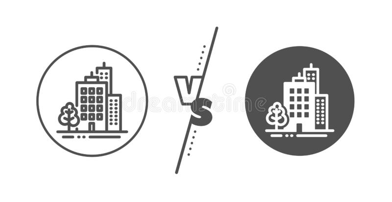 Alignement ic?ne Architecture de ville avec le signe d'arbre B?timent de gratte-ciel Vecteur illustration libre de droits