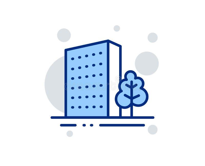 Alignement ic?ne Architecture de ville avec le signe d'arbre B?timent de gratte-ciel Vecteur illustration stock
