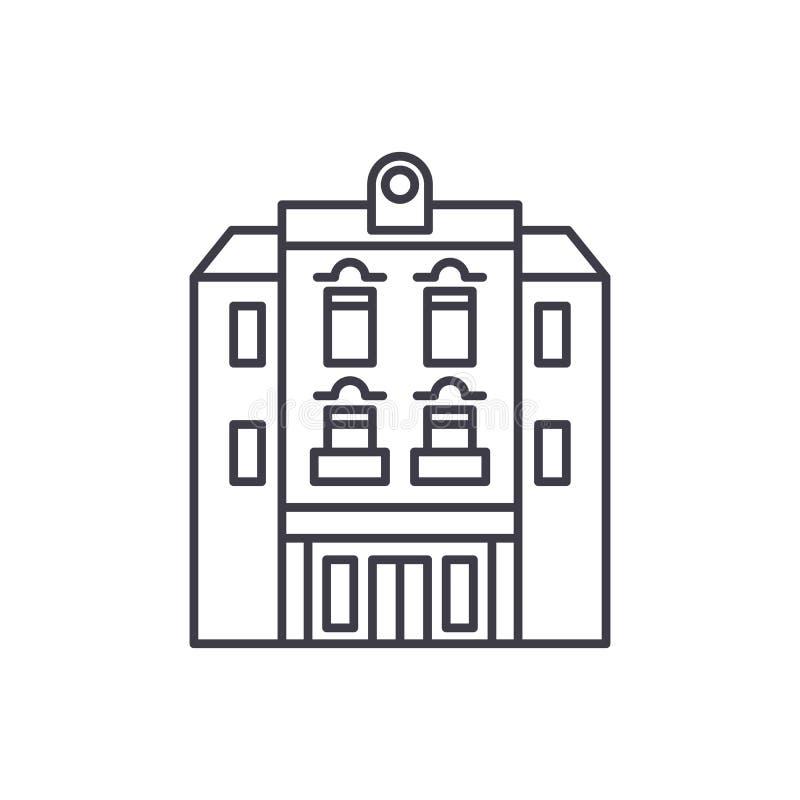 Alignement multi d'étage concept d'icône Illustration linéaire d'étage de vecteur multi de bâtiment, symbole, signe illustration stock