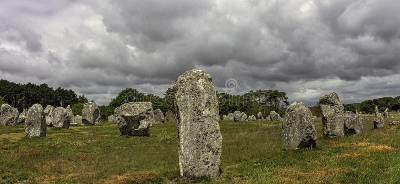 Alignements de Carnac - pedras de Carnac imagens de stock