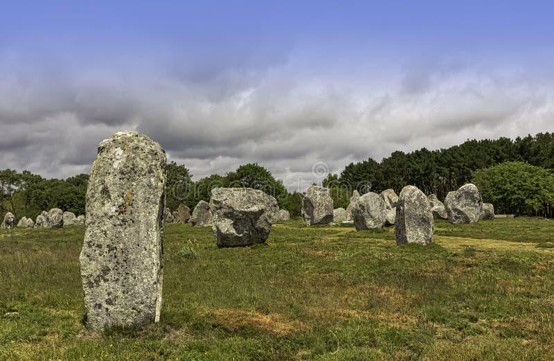 Alignements de Carnac - pedras de Carnac fotografia de stock royalty free