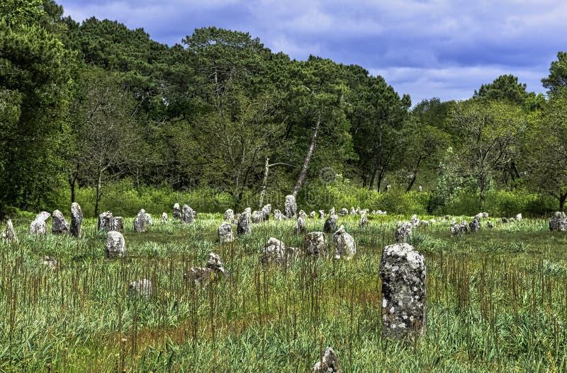 Alignements de Carnac - pedras de Carnac fotos de stock royalty free