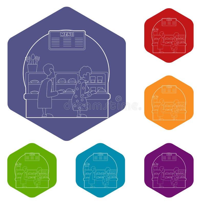 Alignez dans la cantine pour le concept de nourriture, style d'ensemble illustration stock