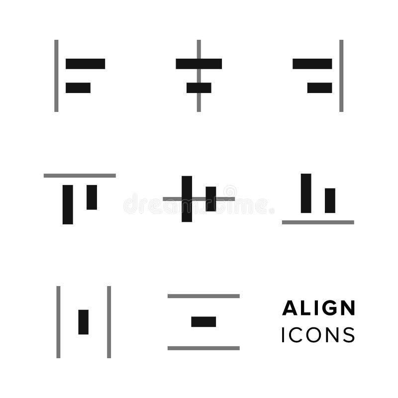 Alignez la collection d'icônes Ensemble d'icônes de édition et de composition simples pour la barre porte-outils illustration de vecteur