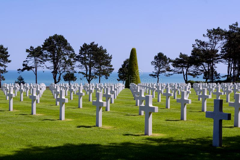 American cemetery Colleville sur Mer in Normandy. Alignment of graves of American soldiers who died during the Battle of France in Normandy, the sea of Omaha royalty free stock photography