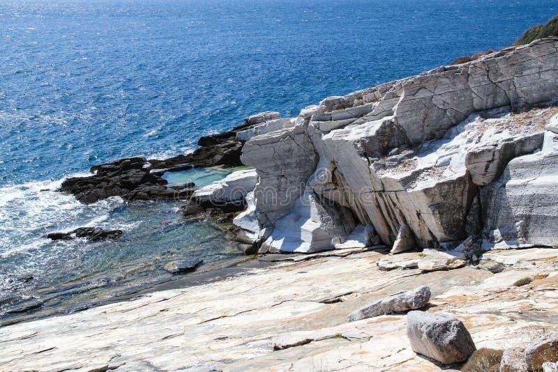Aliki Ancient Marble Quarry Thassos Griekenland stock fotografie