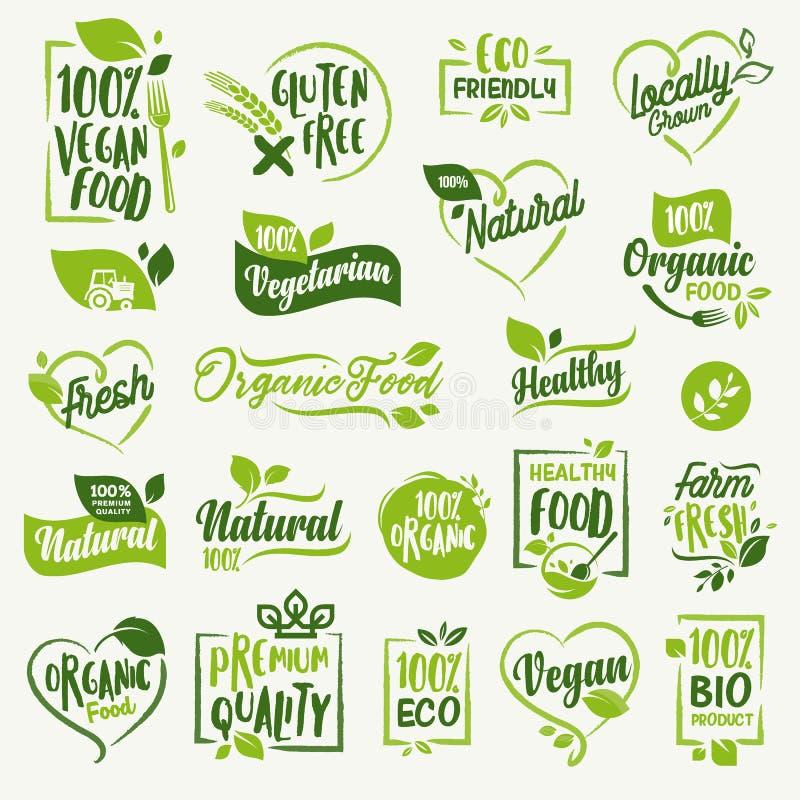 Aliment biologique, labels de produit frais et naturel de ferme et collection d'insignes illustration stock