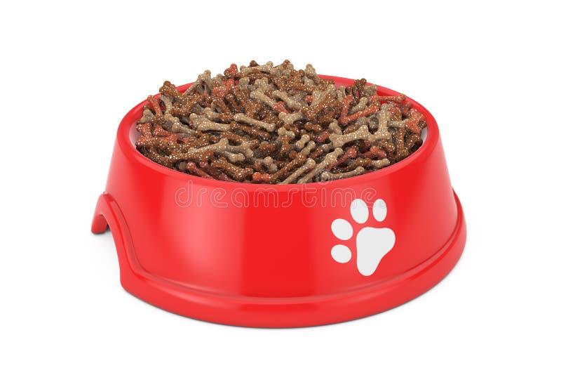 Aliment pour animaux familiers sec dans la cuvette en plastique rouge pour le chien, le chat ou d'autres animaux familiers 3d illustration stock
