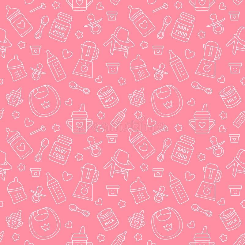 Aliment pour bébé sans couture de modèle, couleur en pastel, illustration de vecteur illustration libre de droits