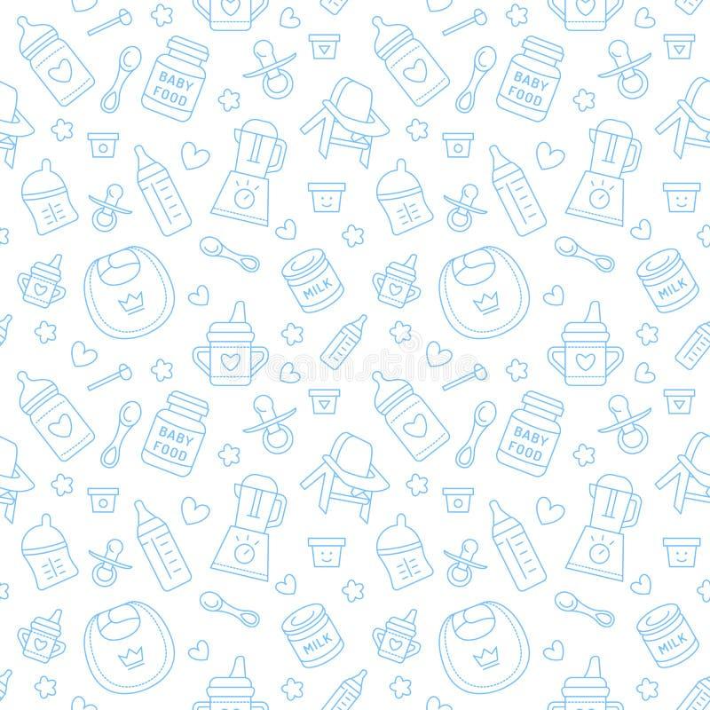 Aliment pour bébé sans couture de modèle, couleur en pastel, illustration de vecteur Ligne mince icônes d'alimentation infantile  illustration libre de droits