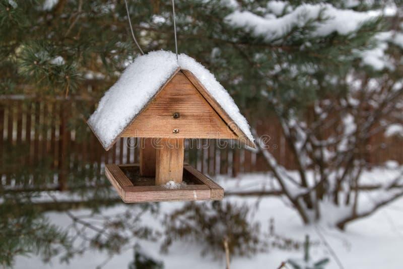Alimentador de madeira do pássaro no jardim da neve do inverno imagens de stock
