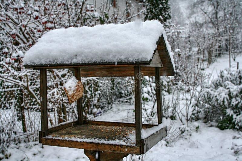 Alimentador de madera del pájaro con la corteza de tocino colgada cubierta con nieve imágenes de archivo libres de regalías
